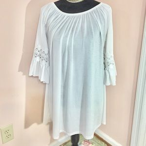 White Boho Ruffled Bell Sleeve Tunic